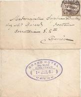 "Neujahrsbrieflein  ""Grand Hôtel, Vevey"" - Genève  (datierter Hotelstempel)          1886 - Covers & Documents"