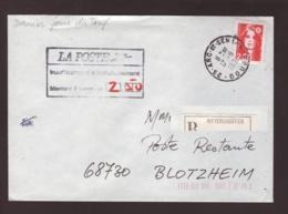 """Lettre  """"dernier Jour Du Tarif 2f30"""" Aff. Marianne De Briat Obl. Arc Et Senans --> Blotzheim Taxe 2.50 Poste Restante - Marcophilie (Lettres)"""