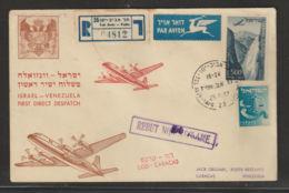 Israel Enveloppe First Flight To Venezuela 1957 - Aéreo