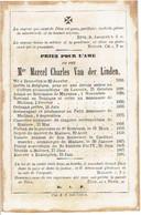 BRUXELLES / MALINES / BONHEIDEN - Mgr. VAN DER LINDEN Marcel - °1809 En +1867 - (Franstalig) - Images Religieuses