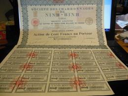 NINH BINH TONKIN SOCIETE DES CHARBONNAGES ACTION DE CENT FRANCS - Asie