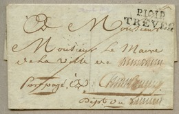 P.101.P. / TRÊVES  36 X 12  Lettre De Berncastel Pour (Chambéry) En 1813 - Marcophilie (Lettres)