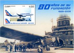 Cuba 2009 Sheet Cubana De Aviacion Cuban Airlines  80 Years Tupolev Tu-204 - Aerei