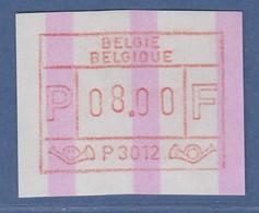 """ATM Belgien ENDSTREIFEN-ATM P3012 ** Mit Wertstufen-Justierfehler """"hohe 8""""  - Postage Labels"""