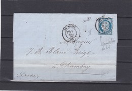 LE MANS ( SARTHE  )  + LAC+  N°60C -pour CHAMBERY -  9 MAI 1876 - REF 1338 + Variété - Postmark Collection (Covers)