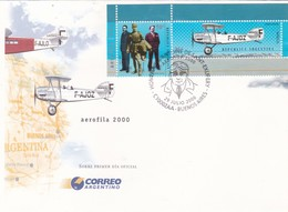 HOMENAJE A ANTOINE DE SAINT-EXUPERY, AEROFILA 2000. ARGENTINA FDC -LILHU - Airplanes