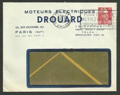 """Enveloppe Commerciale """" Moteurs électriques DROUARD """" à PARIS XVème / 1951 - Marcophilie (Lettres)"""