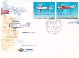 EXPOSICION AEROFILATELICA, MERCOSUR -  FRANCIA. CENTENARIO ANTOINE DE SAINT-EXUPERY, AEROFILA 2000. ARGENTINA FDC -LILHU - Airplanes