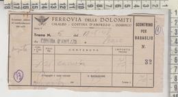 Biglietto Ticket Buillet Ferrovia Delle Dolomiti 1948 Treno N. 5 - Cortina D'ampezzo / Peaio - Railway