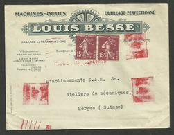 """Semeuse + Complément EMA / Enveloppe """" Machines Outils L. BESSE / PARIS 22.02.1920 >>> SUISSE - Poststempel (Briefe)"""