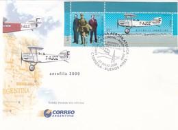 LITERATURA AEROFILATELICA, EXPOSICION MUNDIAL AEROFILA 2000. ANTOINE DE SAINT-EXUPERY. ARGENTINA FDC -LILHU - Airplanes