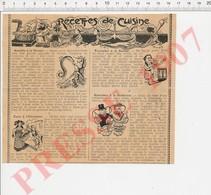 (envoyé Plié ) Humour Recette De Cuisine Anguille Tartare Farce à L'Alsacienne Ecrevisses à La Bordelaise Escrime 229L - Old Paper