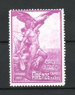 Reklamemarke Firenze, Circuito Aereo & Campo Di Marte 1911, Nackter Mann Mit Adler Nd Propellerblatt - Erinnofilia