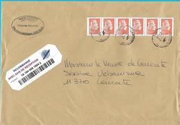 Bande De 6 Marianne L'engagée 1.00€ Cachets Manuels La Poste Lettre Recommandée - 2018-... Marianne L'Engagée