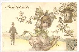 K 1881 OLD  ( 1906)   FANTASY  POSTCARD  , CHILDREN  , FINE ART , ANNIVERSAIRE ,RELIEF PRINT - Sin Clasificación