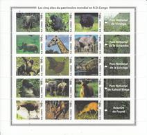 R.D. Congo 2005, Chimpanzees, Elephants, Bird, Giraffes, Rhinoceros, Sheetlet, MNH** - Other