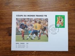 Coupe Du Monde France 98, Brésil-France, YT 3131, Cachet 12-7-1998 St-Denis - Marcophilie (Lettres)