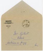 AIN ENV OUVERTE LE BUGEY 1951 BELLEY * IMPRIMES P.P. * ENVELOPPE A ENTETE - 1921-1960: Periodo Moderno