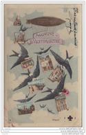 75) MONTMARTRE - SOUVENIR  - PARIS  (XVIII°) - (CARTE  FANTAISIE MULTIVUES AVEC HIRONDELLES ET DIRIGEABLE) - Arrondissement: 18