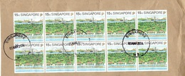 28E: Singapore Mt Faber Cable Car Sentosa X 10 Stamp Used On Piece - Singapore (1959-...)