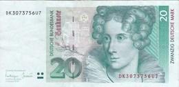 Allemagne - Billet De 20 Mark - Annette Von Droste-Hülshoff - 1er Octobre 1993 - [ 7] 1949-… : RFA - Rep. Fed. Tedesca