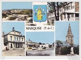 Marquise. (Pas De Calais) 5 Vues Diverses + Blason + Voitures Citroën Ds - 2 Cv - Renault 4 Cv - Oblitération De 1964 - Marquise