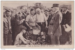 IS23-69) SAINT LAGER (RHÔNE) VISITE DU MARECHAL PÉTAIN (28 SEPTEMBRE 1941) - (TRES ANIMEE - LES VENDANGES - 2 SCANS) - Sonstige Gemeinden