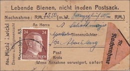 III. Reich: POSTSACK - LEBENDE BIENEN - Per Nachnahme Von  Bogenberg 1944 - Non Classificati