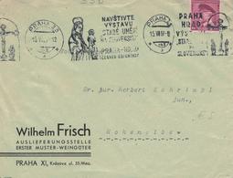 Masaryk Maschinenstempel Praha Madonna 1937 - Wilhelm Frisch Auslieferungsstelle Erster Muster Weingüter - Czechoslovakia