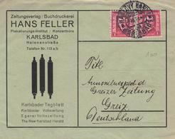 Masaryk Karlsbad - Zeitungsverlag Hans Feller - Illustriertes Kuvert Mit Druckstöcken - Czechoslovakia