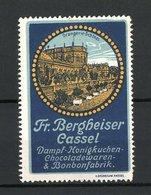 Reklamemarke Dampf-Honigkuche-Chocoladen- Und Bonbonfabrik Fr. Bergheiser, Cassel, Orangerie-Schloss - Erinnophilie