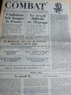 Combat, Du 14 Novembre 1973 N° 9141 : Tribune De Fonvieille-Alquier / L'inflation / - Livres, BD, Revues