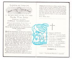 DP Charles V. Lechat ° Langemark 1868 † 1946 X Camilla Vanderhaeghe / Lowagie Van Audenhove Goegebeur Breyne Debacker - Images Religieuses