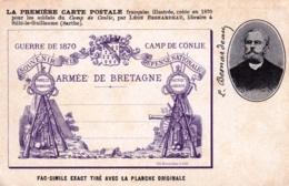 72 - Sarthe - CONLIE - Fac Similé De La Premiere Carte Postale - Armée De Bretagne - Conlie