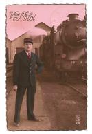 1 CP : Vive Saint Eloi - Chef De Gare Devant Son Train, Locomotive à Vapeur 231 - LC Paris 676 - Fancy Cards