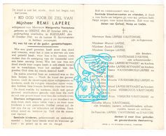 DP Remi Lapere ° Oekene 1894 † Roeselare 1945 X Margaretha Vantomme / D'Hayere Reynaert Vandenbroele Vereecke Werbrouck - Images Religieuses