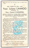 DP Juliana Lannoo ° Pittem 1868 † Marialoop Meulebeke 1949 X Camiel Caenepeel - Images Religieuses