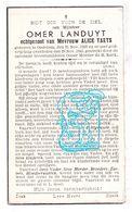 DP Omer Landuyt ° Oedelem Beernem 1897 † 1943 X Alice Taets - Images Religieuses