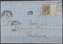 N° 17 Et 18 Sur Lettre De BRUXELLES Vers Bordeaux (France) - 1865-1866 Profile Left