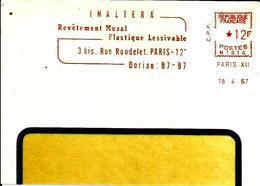 Lettre  EMA Secap N 1957 Inaltera Revetement Mural Plastique Metier   Paris C15/32 - Poststempel (Briefe)