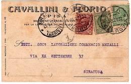 """STAMPA INTEST.""""CAVALLINI&FLURIO MACCHINE UENSILI LAVORAZIONE METALLI.BELLA AFFRANCATURA TRICOLORE """"PISA 23-2-27"""" - Pisa"""