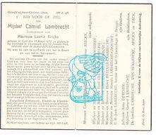 DP Camiel Lambrecht ° Tielt 1872 † Voormezele Ieper 1944 X L. Arickx / Boussery Cluyse Minne Grouset Tack Van Hollebeke - Images Religieuses