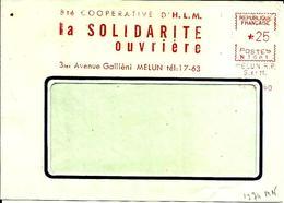 Lettre  EMA Secap N 1960 Ste Cooperative HLM Solidarité Ouvriere Melun C15/40 - Affrancature Meccaniche Rosse (EMA)