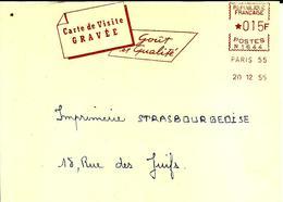 Lettre  EMA Secap N 1955 Carte Visite Gravée  Metier Imprimeur Paris C15/46 - Affrancature Meccaniche Rosse (EMA)