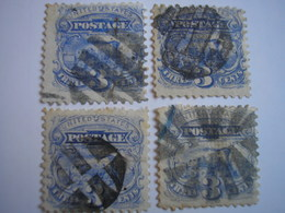 ETATS-UNIS - USA Stamp - 4 N° 31 Yvert&Tellier - 3c Outremer - Locomotive - Fancy Cancel - 2 Photos - Used Stamps