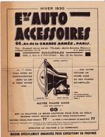 ETABLISSEMENTS AUTO ACCESSOIRES - 66 Av De La Grande Armée PARIS - Prospectus 8 Pages - Hiver 1930 - Advertising