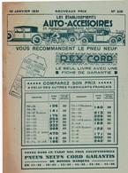ETABLISSEMENTS AUTO ACCESSOIRES - 66 Av De La Grande Armée PARIS - Prospectus 4 Pages - 10 Janvier 1931 - Advertising