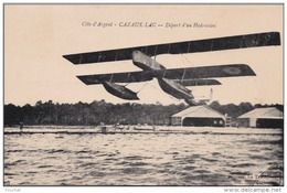 33) CAZAUX  LAC (COTE D ' ARGENT)  DEPART D UN HYDRAVION  - (AVION - 2 SCANS) - France