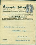 SUISSE BANDE JOURNAL ENTIER POSTAL 5 C Violet Ob HERISAU 26.11.1927 Tirage : 8000 Ex TB - Marcofilie