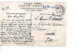 Sur CP  Du Palais De Fontainebleau,  Griffe Militaire Du 46e Régiment FM 1914 - Guerre De 1914-18